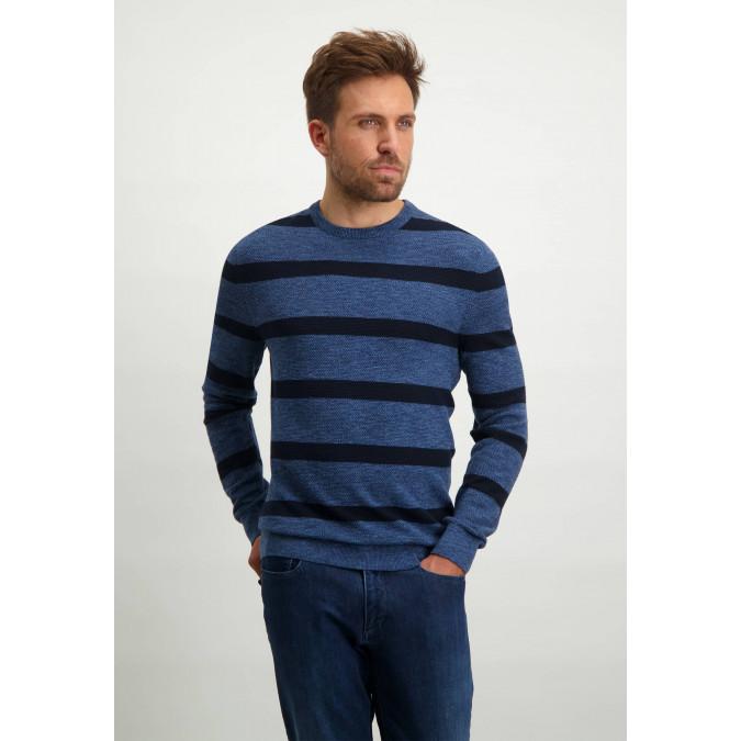 Gestreepte-trui-van-100%-katoen---donkerblauw/kobalt