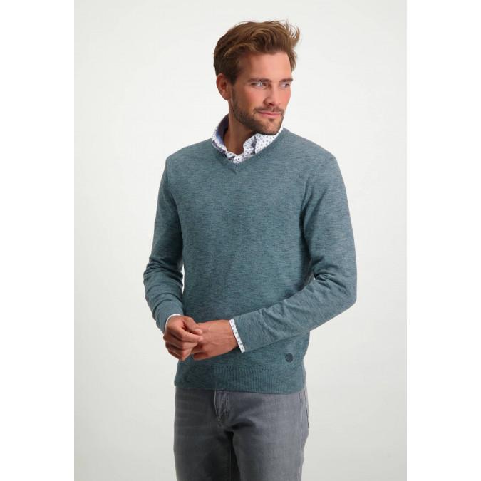 V-hals-trui-van-100%-katoen---donkerblauw/grijsblauw