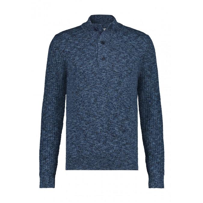 Regular-fit-trui-met-sportzip---donkerblauw/kobalt