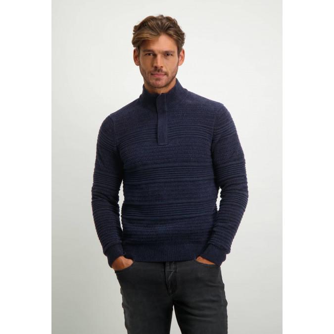 Katoenen-trui-met-chenille-details---donkerblauw-uni