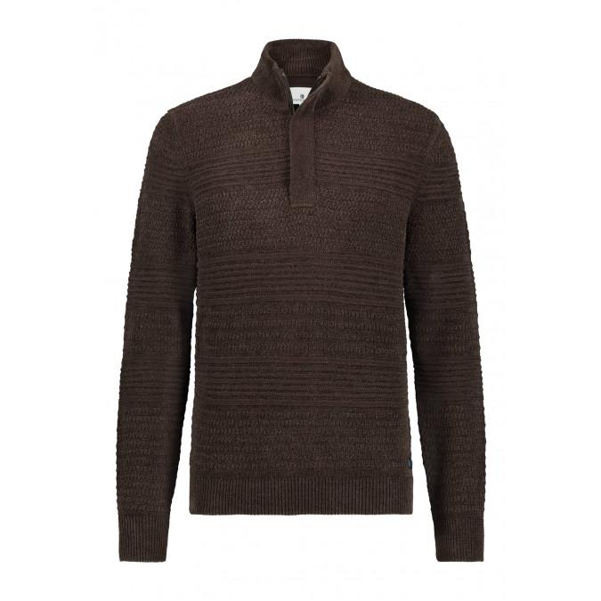 Katoenen-trui-met-chenille-details---donkerbruin-uni
