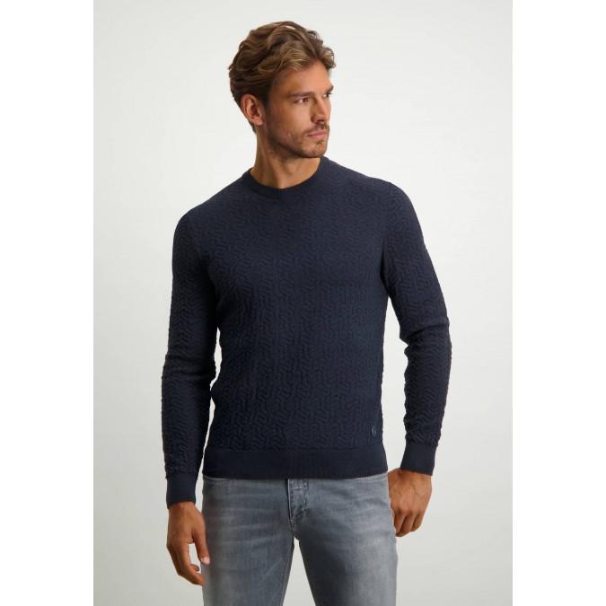 Katoenen-trui-met-regular-fit---donkerblauw/marine
