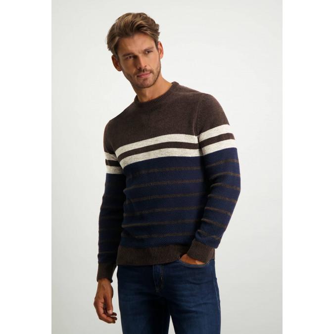 Gestreepte-trui-met-ronde-hals---donkerbruin/donkerblauw