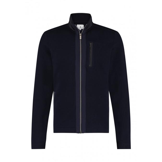 Vest-met-steekzakken-en-rits---donkerblauw/zilvergrijs