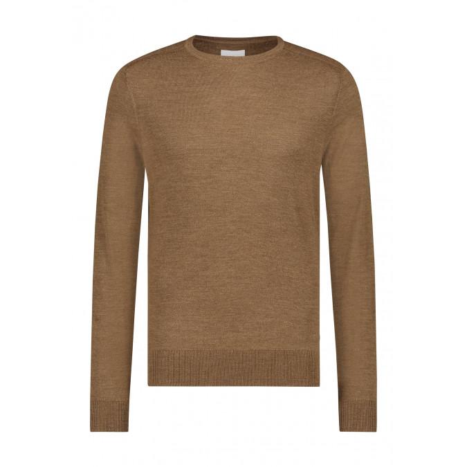 Fijngebreide-trui-van-een-wol-mix---cognac-uni