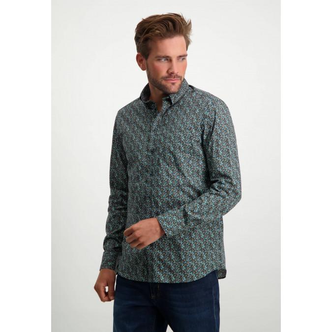 Katoenen-overhemd-met-stretch---cognac/donkerblauw