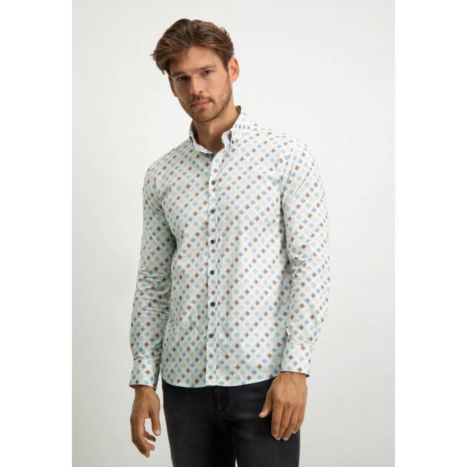 Stretch-overhemd-met-een-all-over-print---grijsblauw/bladgroen
