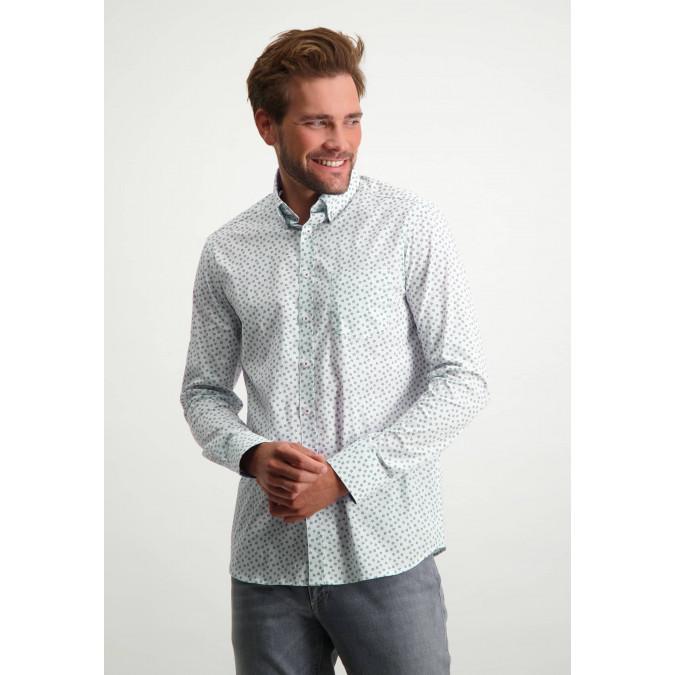 Button-down-overhemd-met-borstzak---grijsblauw/bladgroen