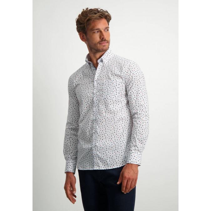 Overhemd-met-een-all-over-print---oud-roze/sepia