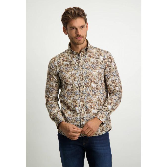 Poplin-overhemd-met-regular-fit---cognac/donkerblauw