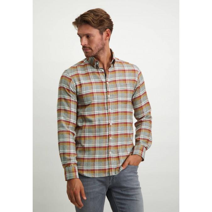 Geruit-overhemd-van-100%-katoen---donkerblauw/brique