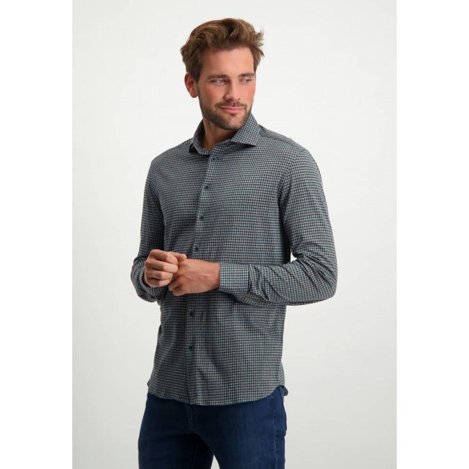 Jersey-overhemd-met-regular-fit---donkerblauw/cognac