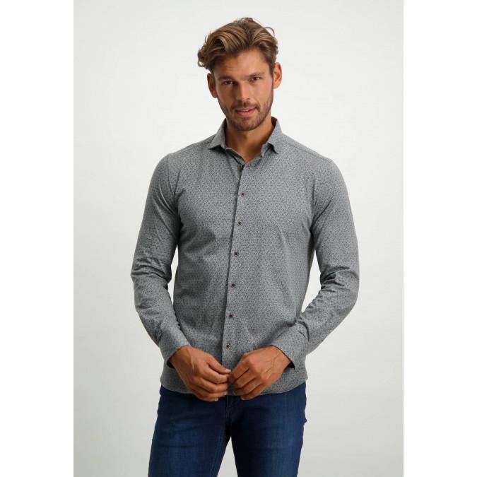 Jersey-overhemd-met-cut-away-kraag---cognac/donkerbruin