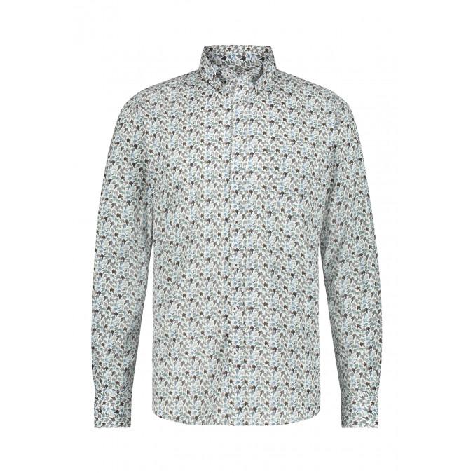 Poplin-overhemd-met-button-down-kraag---donkerblauw/zilvergrijs