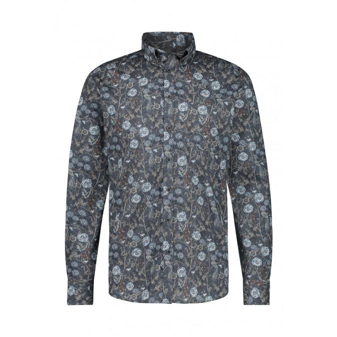 Overhemd-van-katoen-stretch-met-print---donkerblauw/zilvergrijs