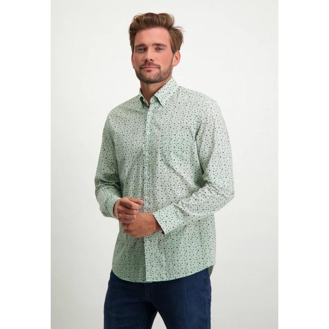 Overhemd-van-biologisch-katoen-met-print---bladgroen/grijsblauw