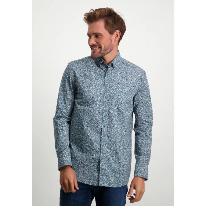 Stretch-overhemd-van-biologisch-katoen---donkerblauw/cognac