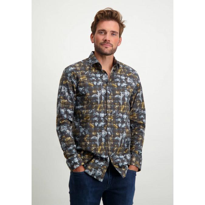Regular-fit-overhemd-van-biologisch-katoen---donkerblauw/cognac