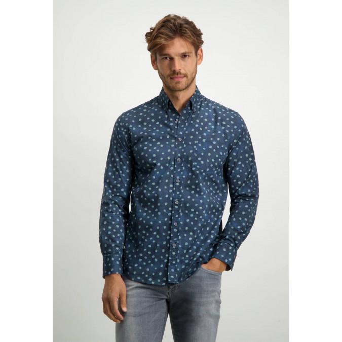 Button-down-overhemd-van-biologisch-katoen---donkerblauw/bladgroen