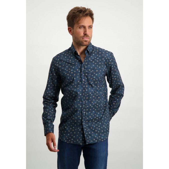 Button-down-overhemd-van-biologisch-katoen---donkerblauw/grijsblauw
