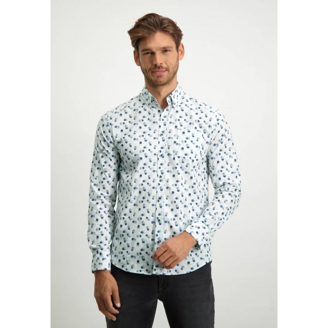 Button-down-overhemd-van-biologisch-katoen---grijsblauw/bladgroen