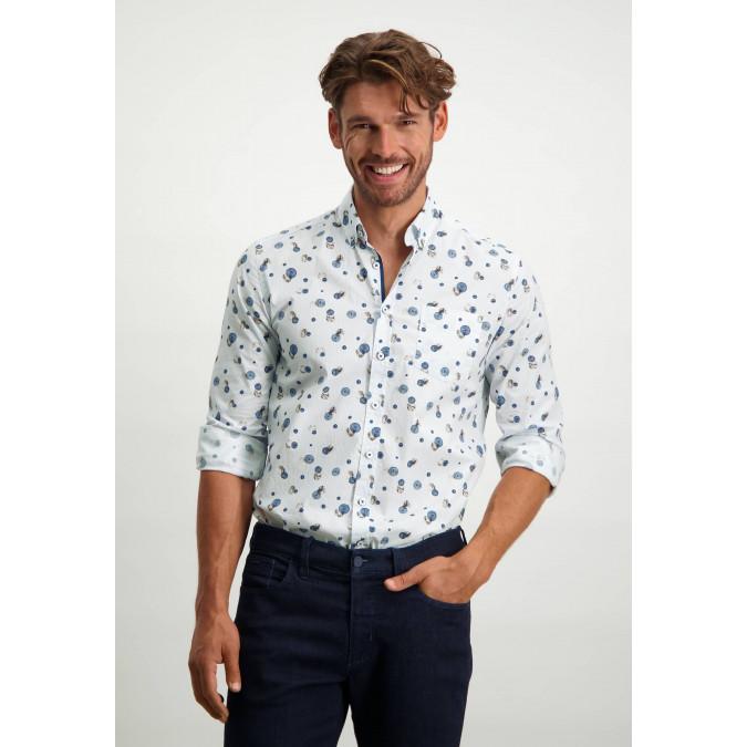 Button-down-overhemd-van-biologischkatoen---kobalt/cognac