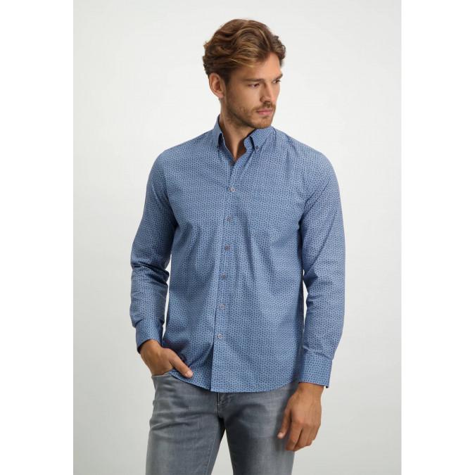 Button-down-overhemd-van-biologisch-katoen---kobalt/cognac
