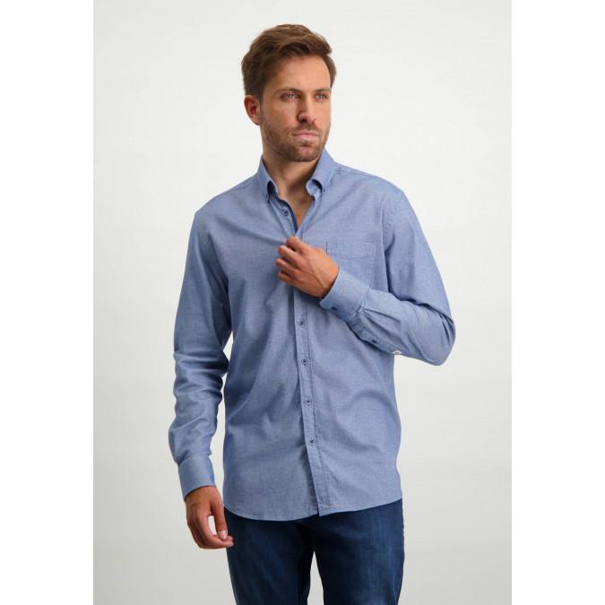 Flanellen-overhemd-met-borstzak---kobalt/wit