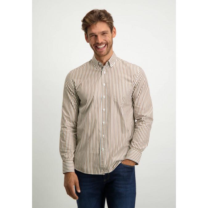 Streep-overhemd-van-biologisch-katoen---cognac/wit