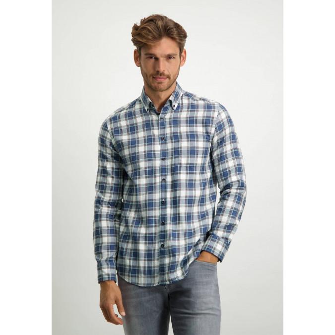 Katoenen-twill-overhemd---grijsblauw/bladgroen