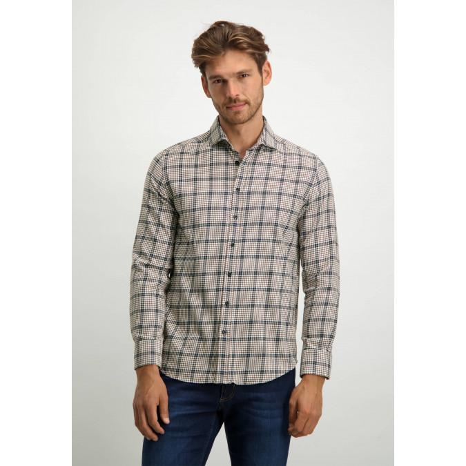 Pied-de-poule-overhemd---cognac/donkerblauw