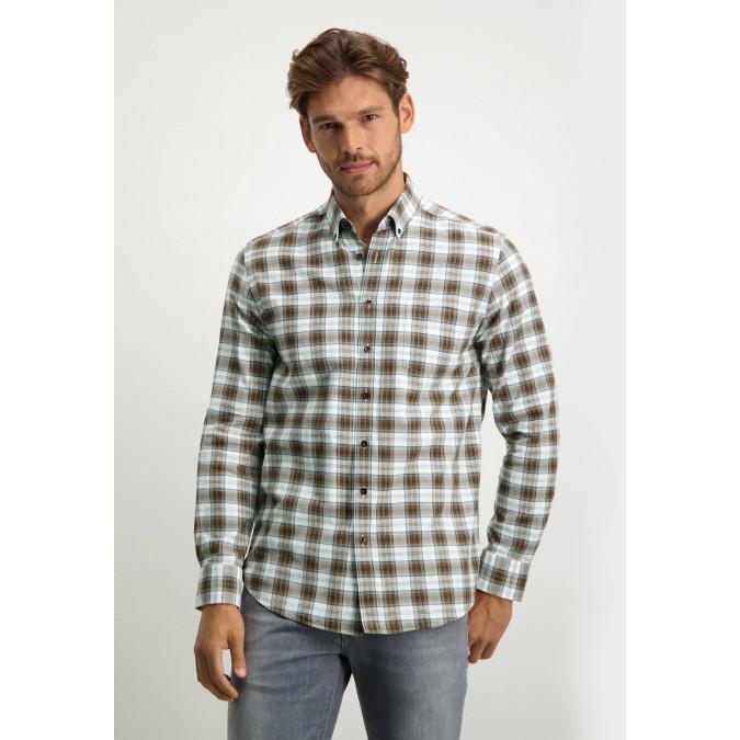 Overhemd-met-ruitpatroon---cognac/donkerbruin
