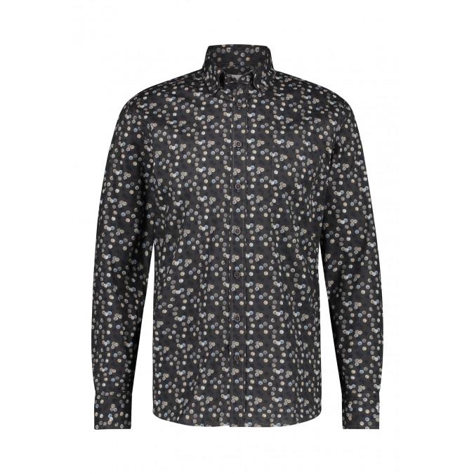 Biologischkatoenen-overhemd-met-borstzak---zilvergrijs/donkerantracit