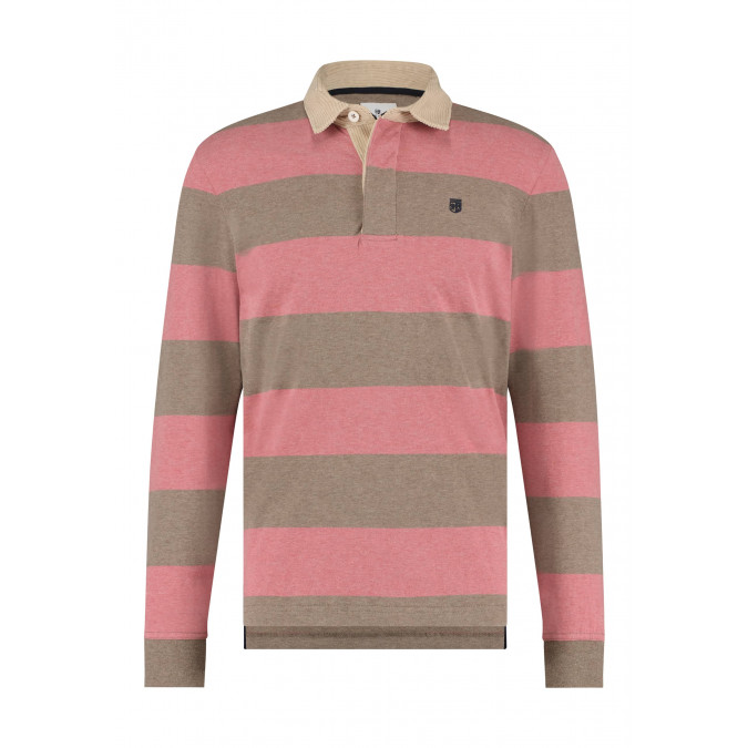 Rugbyshirt-met-streepdessin---oud-roze/sepia