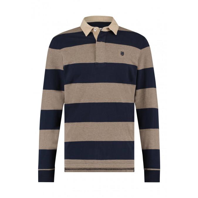 Rugbyshirt-met-streepdessin---cognac/donkerblauw