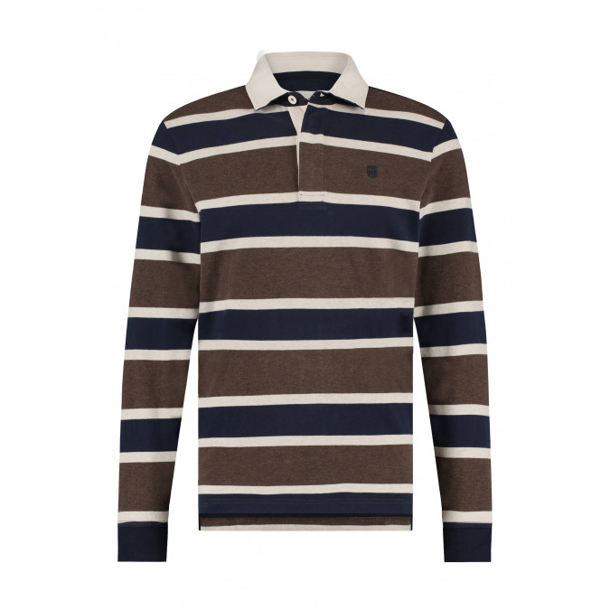 Rugbyshirt-met-contrasterende-kraag---cognac/donkerblauw