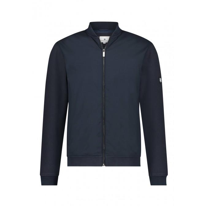 Bomber-stijl-sweatvest-van-polyester---donkerblauw-uni