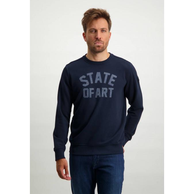 Sweatshirt-met-ronde-hals---donkerblauw-uni
