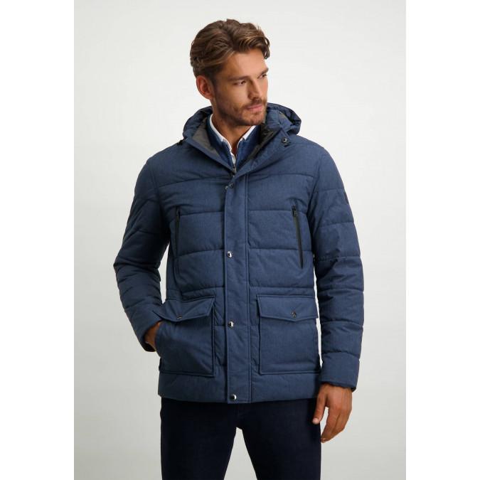 Halflange-jas-met-een-gemêleerde-print---donkerblauw-uni