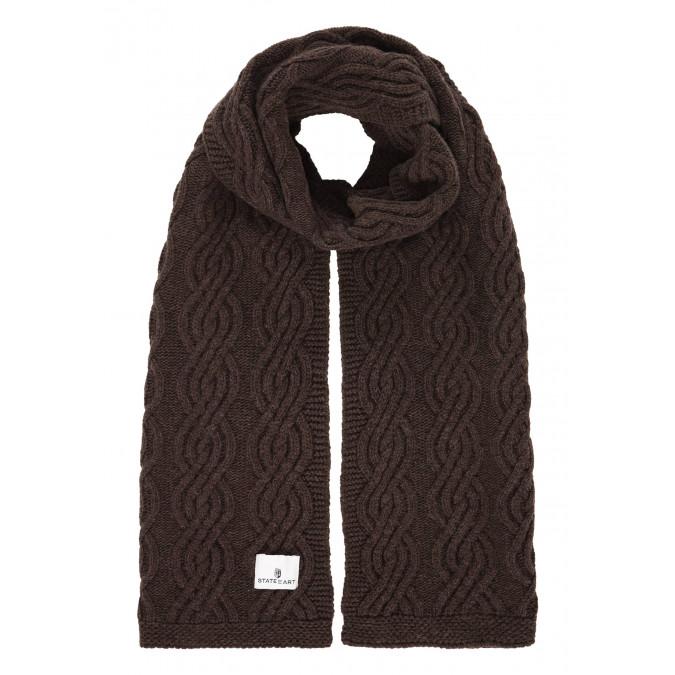 Kabelgebreide-sjaal-van-een-lamswol-mix---donkerbruin-uni