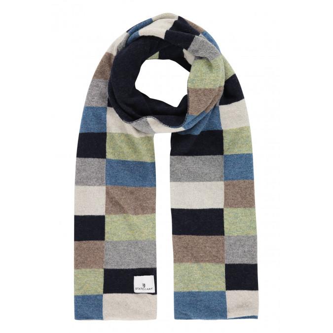 Sjaal-van-een-lamswol-mix-met-logopatch---donkerblauw/grijsblauw