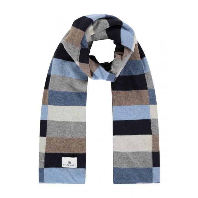 Sjaal-van-een-lamswol-mix-met-logopatch---donkerblauw/kobalt