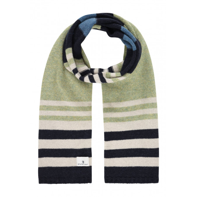 Gestreepte-sjaal-met-lamswol---bladgroen/donkerblauw