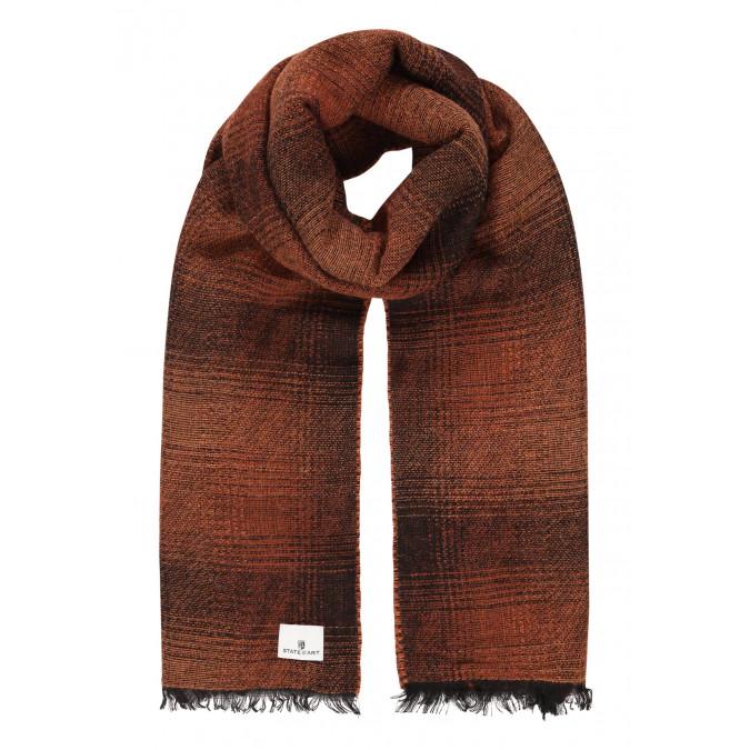 Sjaal-met-ruitmotief-en-franjes---cognac/donkerblauw