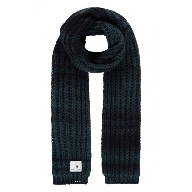 Gestreepte-sjaal-van-een-acryl-mix---donkerblauw/grijsblauw