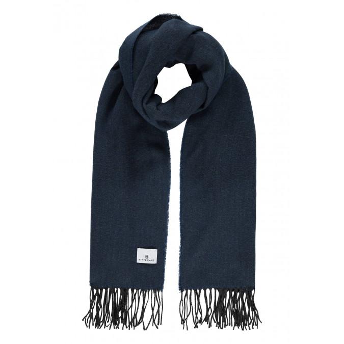 Effen-sjaal-met-lange-franjes---grijsblauw/donkerantracit
