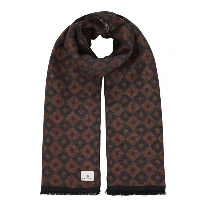 Bedrukte-sjaal-met-korte-franjes---donkerantraciet/donkerbruin